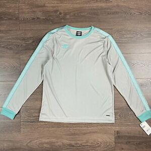 Umbro Men's Large Long Sleeve Silver & Teal Shirt