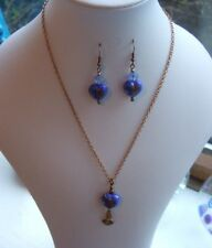 """17"""" Antique Bronze Chain Necklace & Earring Set with Blue Glass Heart Beads"""