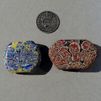 2 old antique venetian tabular fancy beads african trade #1807