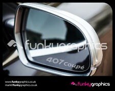 PEUGEOT 407 COUPE LOGO MIRROR DECALS STICKERS GRAPHICS x3 IN SILVER ETCH VINYL