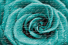 BEAUTIFUL GREEN ROSE FLOWER SHABBY CHIC CANVAS PICTURE #5 STUNNING A1 CANVAS
