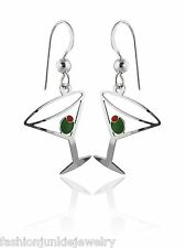 Martini Glass Earrings-925 Sterling Silver Ear Wires-Alcohol Drink Cocktail Bond