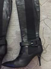 "Red Sole Cesare Paciotti Black Leather Pointed Toe Knee Length "" Boots SZ 37"
