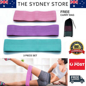 AUS STOCK 3 PC SET RESISTANCE BANDS BOOTY LEGS SQUAT TONING EXERCISE FITNESS