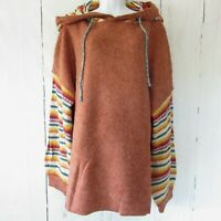 New Easel Hoodie Sweater 1X Rust Serape Stripe Soft Fuzzy Plus Size Puff Sleeve