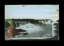 c1900 Niagara Falls Picture on Glass Hand Colored, Abalone Rainbow, From US Side