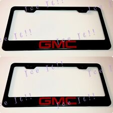 2X GMC Red Terrain Sierra Stainless Steel Black License Plate Frame Rust Free