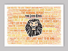 The Lion King Broadway Musical Poster, Quotes, Lyrics, Wall Art, Poster