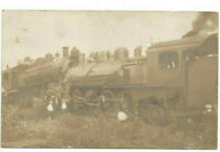 VINTAGE POSTCARD 2 LOCOMOTIVES FACING EACH OTHER! WRECK? UNDATED!  TRAINS! RPPC!