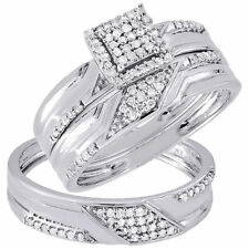 Diamond Trio Set 10K White Gold Ladies Engagement Ring Mens Wedding Band .33 Ct.