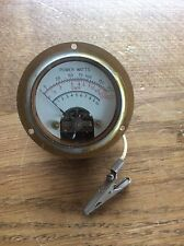 Vintage STEAMPUNK Industrial Machine Age SWR Brass Dial Meter Power Watts
