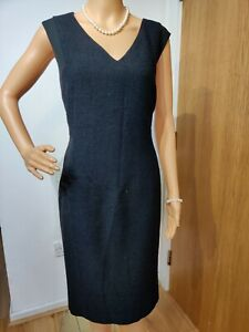 LK BENNETT FITTED DRESS UK16 USA 12 BLACK