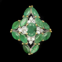 Unheated Oval Green Emerald 7x5mm Natural White Cz 925 Sterling Silver Ring