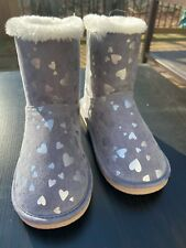 Gymboree Girls Size 12 Gray Fuzzy Boots Hearts Nwot