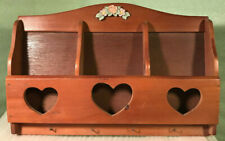 Vintage Wall Hanging Wood Mail Holder & Key Rack Floral Accent & Heart Cut Outs