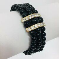 """Vintage Black Bead Rhinestone Bracelet Triple Strand 7"""""""