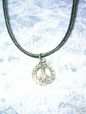 NEW THICK ROPE PATTERN PEACE SIGN SYMBOL PEWTER PENDANT ADJ CORD NECKLACE