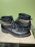 JOHNSTON & MURPHY Mens Size 9 M Black Leather Boots Brown Accent Cap Toe