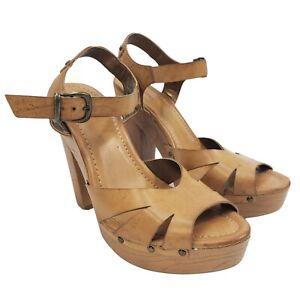 Xhilaration Women's Heels Shoes Sz 8M Ankle Straps Peep Toe Brown Leather Pumps