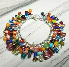 "Boho Folk Glass Beads Charm Link Bracelet Magnetic Clasp Red Blue Yellow 7"""