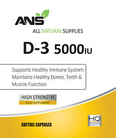 All Natural Vitamin D3 5000iu manufactured in a highly absorbable liquid softgel