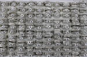30pcs Wholesale Lots 2 in 1 Rhinestone Wedding Ring Fashion Lady's Rings AH544