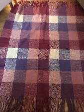 Hand Knitted Afghan Throw Block Pattern Finges Pink Purple Burgundy