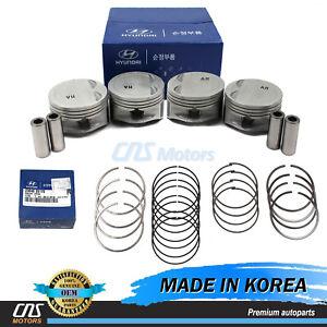 GENUINE Engine Piston Set w/ Rings for 06-11 Hyundai Accent Kia Rio 2341026501