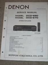 Denon Service/Operation Manual~DCD-680 DCD-670 CD Player Owner/User
