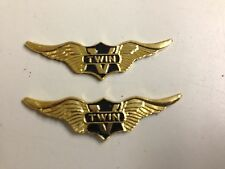 "Set of 2 Brass ""V-Twin"" Wings for Harley Davidson 3"""