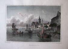 EMMERICH am Rhein. Kolorierter orig. Stahlstich ROHBOCK / OEDER, ca. 1860
