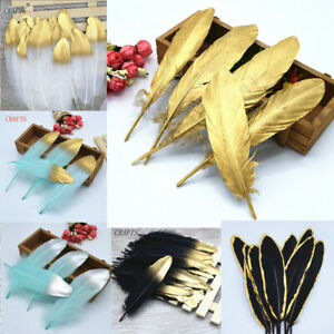 10-100pcs 6-8 inches spray gold goose feather DIY jewelry decorative accessories
