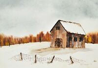 Vintage Watercolor Winter Country Barn & Fence Signed 1979 Alice Hayslern