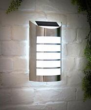 Stainless Steel LED Solar Wall Light Garden Outdoor Patio White Light Lantern