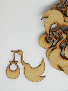 MDF Stork and Baby 4cm, 5cm - Laser cut wooden shape