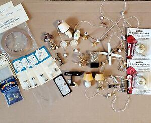 LOT Vintage Dollhouse miniature light fixtures  12V wire, copper 1:12