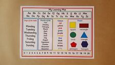 My Learning Mat - A4 LAMINATED POSTER - Numbers/Colours/alphabet - EYFS/SEN/KS1