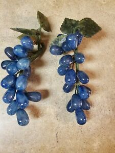 TWO Grape Clusters Blue  Polished Stone Carved Semi Precious Fruit Marble Leaves