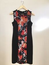New Jane Lamerton Floral Sleeveless Dress With Slimming Side Panels Size 8