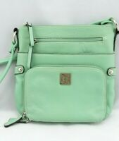 Giani Bernini MINT GREEN Handbag Pebble Leather Crossbody Bag Small