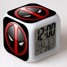 7 Color LED Night Light Alarm Clock Deadpool Figures Watch Toy New Kids Gifts