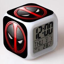7 Color LED Night Light Alarm Clock Deadpool Figures Watch Toy Kid Birthday Gift