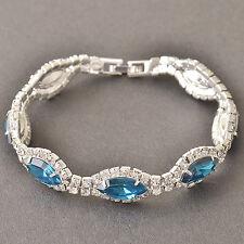 Womens Silver Plated Fashion Blue Lucky Cz TearDrop Chain wedding Bracelet