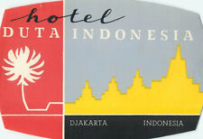 DJAKARTA INDONESIA HOTEL DUTA LARGE VINTAGE LUGGAGE LABEL