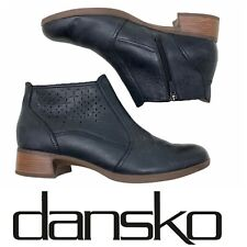 Dansko Liberty Ankle Boots Booties Black Perforated Leather  US Sz 9.5-10 EU 40