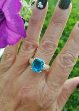 Fancy Cushion Cut Bright Blue Topaz Solitaire /Accents Ring, 18KYG/925, sz 8
