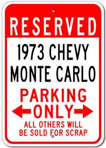 Personalized 1973 73 CHEVY MONTE CARLO Parking Sign Custom Chevrolet Garage