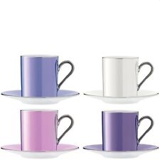 Lsa polka tasse à café & soucoupe 0.1L - pastel assorties-lot de 4