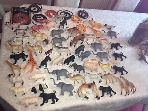 """JOBLOT BUNDLE 60 x TOY FARM AND WILD ANIMALS  SIZE 4"""" 6"""" & 8 (snakes not includ)"""