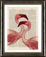 Antique Book page Art Print - Pink Flamingos Vintage Dictionary Page Print